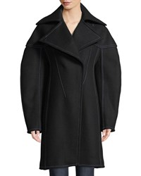 Thierry Mugler Full Sleeve Structured Wool Coat W Seaming Details Black