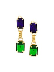 Chanel Vintage Gripoix Clip On Drop Earrings Multicolour