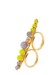 Anton Heunis Color Block Double Finger Ring Grey Yellow