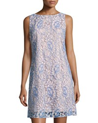 Eliza J Floral Lace Overlay Shift Dress Blue White