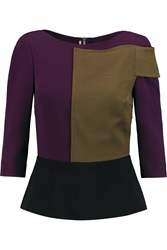 Roland Mouret Harpocera Crepe And Wool Blend Peplum Top Purple