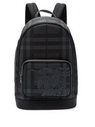 Burberry Ekd London Check And Leather Backpack Grey