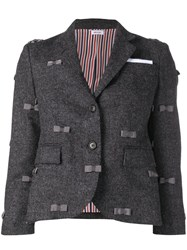 Thom Browne Bow Embroidered Sport Coat Grey