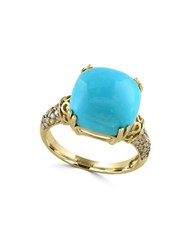 Effy Turquoise Diamond And 14K Yellow Gold Ring