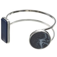 John Lewis Open Work Geometric Cuff Navy Marble Charcoal