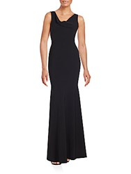 Theia Solid Sleeveless Gown Black