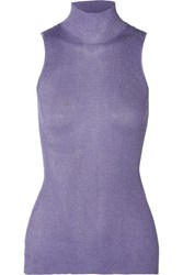 Missoni Metallic Ribbed Knit Turtleneck Top Lilac