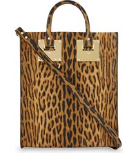 Sophie Hulme Mini Albion Leather Tote Leopard