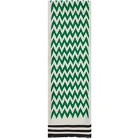 Haider Ackermann Green And Off White Silk Numberia Scarf
