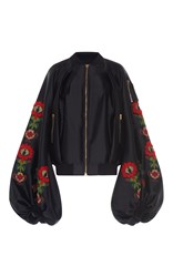 Stella Jean Embroidered Balloon Sleeve Jacket Black