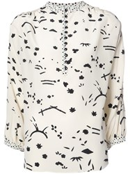 Maison Mayle Round Neck Loose Fit Blouse White