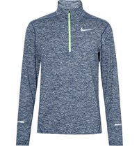 Nike Running Element Space Dyed Dri Fit Half Zip Top Storm Blue