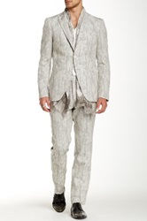 John Varvatos Austin 3 Button Peak Lapel Cut Away Suit White
