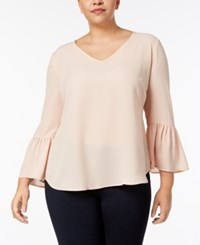 Ny Collection Plus Size Lantern Sleeve High Low Blouse Blush