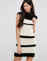 Lavand Striped Rollneck Jumper Dress W White