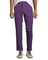 Ovadia And Sons Men's Sideline Wool Track Pants Purple Yellow