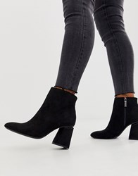 Bershka Faux Suede Zip Side Kitten Heel Boots In Black