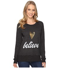 Allen Allen Believe Long Sleeve Raglan Crew Black Women's Long Sleeve Pullover