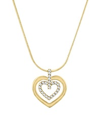 Circle Heart Swarovski Crystal And Two Tone Pendant Necklace Gold