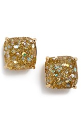 Women's Kate Spade New York Mini Small Square Stud Earrings Gold Glitter Gold