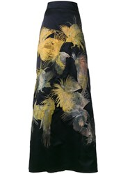 Alice Archer Dore Bird Embroidered Maxi Skirt Blue