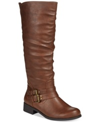 Xoxo Marcel Tall Shaft Wide Calf Riding Boots Women's Shoes Brown