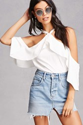 Forever 21 Open Shoulder Flounce Top White