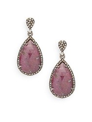Bavna Champagne Diamond 1.08 Tcw Ruby And Sterling Silver Earrings No Color