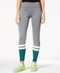 Energie Active Juniors' Claire Striped Colorblocked Leggings Heather Grey