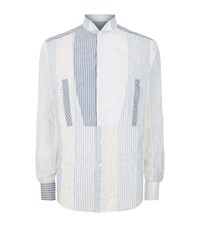 Loewe Patchwork Wing Collar Shirt Male Blue