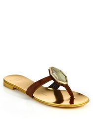 Giuseppe Zanotti Jeweled Suede Thong Sandals Brown Gold