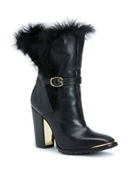 Rachel Zoe Bardot Baby Calf Leather And Sheep Fur Booties Black
