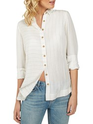 Fat Face Rachel Linen Stripe Shirt White