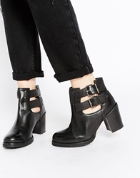 Ravel Cut Out Buckle Heeled Leather Ankle Boots Black