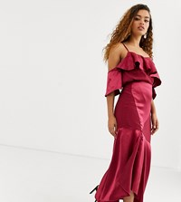 True Decadence Petite Asymmetric Cami Strap Top Co Ord With Ruffle Front In Raspberry Pink