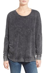 Junior Women's Rvca 'Ro' Embroidered Logo Sweatshirt