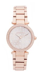 Michael Kors Mini Parker Watch Rose Gold Silver Floral