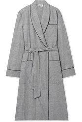 Sleepy Jones Prince Of Wales Checked Cotton Robe Gray