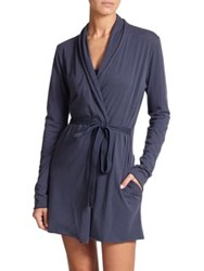 Skin Double Layer Pima Cotton Jersey Wrap Robe Salmon