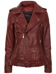 Blk Dnm Burgundy Leather Motorcycle Jacket
