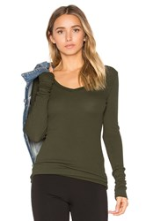 Bobi Modal Thermal V Neck Long Sleeve Top Green