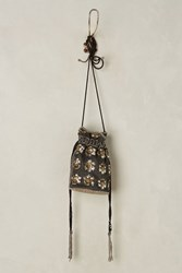 Anthropologie Beaded Drawstring Pouch Black