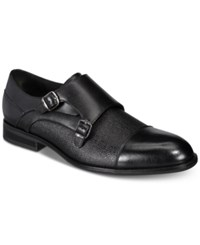Alfani Luxton Textured Double Monk Cap Toe Loafers Created For Macy's Shoes Black