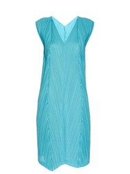 Issey Miyake Sleeveless Pleated V Neck Dress Blue