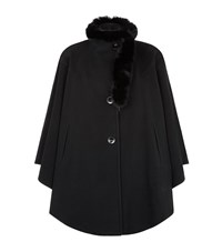 Harrods Of London Wool Cashmere Cape With Fox Collar Female