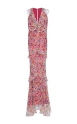 Saloni Rita Ruffled Floral Gown Pink