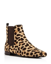 Tory Burch Orsay Leopard Print Calf Hair Chelsea Booties Tan