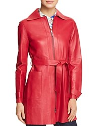 Emporio Armani Belted Leather Jacket Pink