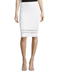 Carmen Carmen Marc Valvo Pull On Crochet Slim Skirt White