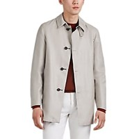 Barneys New York Lotus Reversible Cashmere Silk Raincoat Beige Tan